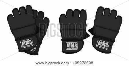 Black martial arts gloves