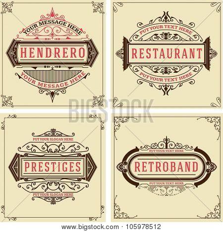 Vintage logo templates, Hotel, Restaurant, Business or Boutique Identity. Design with Flourishes Elegant Design Elements. Royalty, Heraldic style.