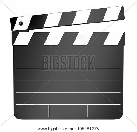Movie or film clapper board for production on set with director, producers and actors working on a scene