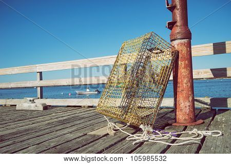 Lobster Traps At A Fishing Pier In New England