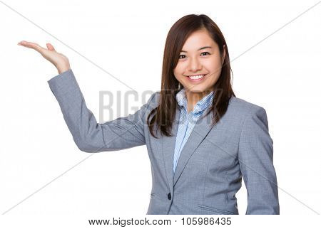 Aisan Businesswoman with hand showing blank sign