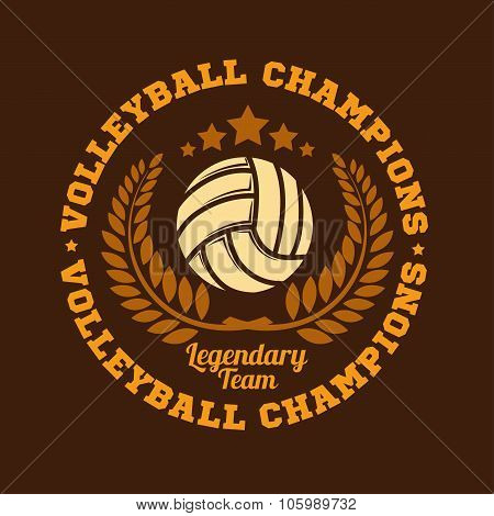 Volleyball championship logo with ball. Vector sport badge for tournament or championship. poster