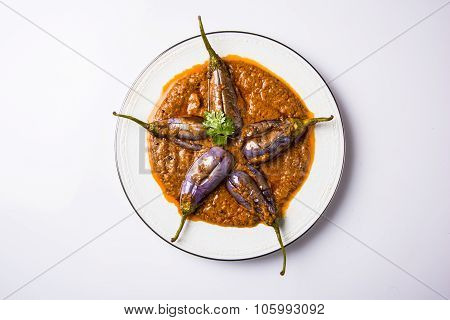 egg plant south indian curry, brinjal curry, brinjal masala also known as baigan masala