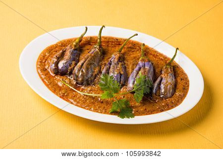 egg plant south indian curry, brinjal curry, brinjal masala also known as baigan masala or baingan m