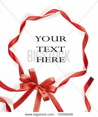 Red Ribbon On White Background With Space