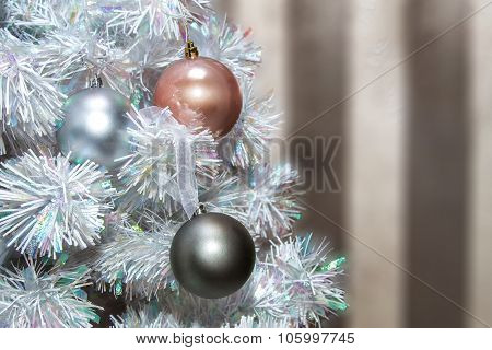 Colored Balls On The Christmas Tree  Artificial