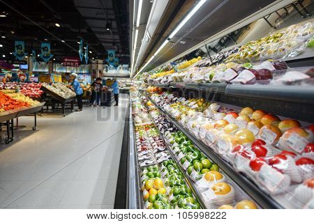 SHENZHEN, CHINA - OCTOBER 15, 2015: JUSCO supermarket interior. JUSCO is the acronym for Japan United Stores Company, a chain of