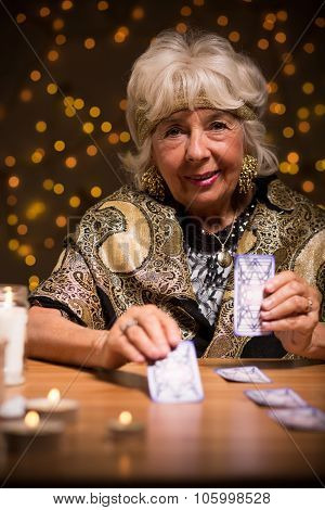 Fortuneteller Using Tarot Cards