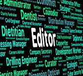 Editor Job Indicating Occupation Hire And Editing poster