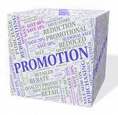 Promotion Cube Showing Reduction Merchandise And Save poster