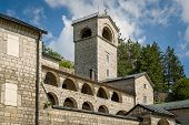 Ancient Monastery of the Nativity of the Blessed Virgin Mary in Cetinje, Popular touristic spot in Montenegro. poster