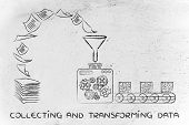 collecting and transforming data: factory machines turning unorganized paper into processed information poster