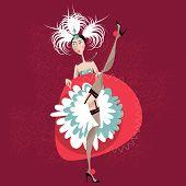 French cancan dancer. Cabaret girl. Vector illustration poster