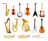 Orchestra Musical Instruments isolated on white background Vector Illustrations of blues rock and jazz instruments poster
