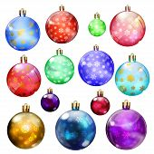 Set of opaque Christmas balls with snowflakes in various colors and sizes poster