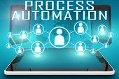 Process Automation - text illustration with social icons and tablet computer and mobile cellphones on cyan digital world map background. poster