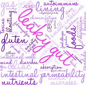 Leaky Gut word cloud on a white background. poster