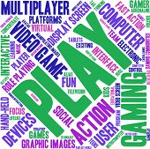 Play word cloud on a white background. poster