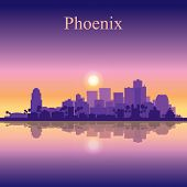 Phoenix city skyline silhouette background vector illustration poster