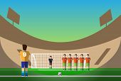 Penalty Soccer Players Defending Gates. Sportswear flat design. Men on football stadium wearing blue boots with blue socks green shorts and orange t-shirt. Digital background vector illustration. poster