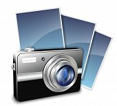 Digital compact photo camera and photos. Vector illustration poster