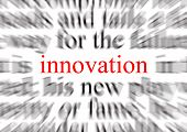 blurred text with a focus on innovation poster