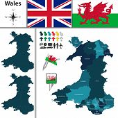 Vector map of Wales with principal areas and flags poster