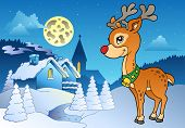 Young Christmas reindeer outdoor 2 near winter village - vector illustration. poster