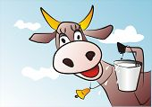 cartoon illustration of smiling cow and a bucket of milk poster