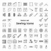 Sewing line icons set isolated on white background. Tailoring supplies and accessories. Fabric needle thread scissors sewing machine pin ruler organizer iron zipper spool kit pattern tailor's dummy. Vector illustration. poster