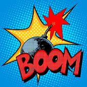 Boom bomb blast comic pop art retro style. Terrorism is a danger of destruction poster