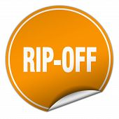 rip-off round orange sticker isolated on white poster