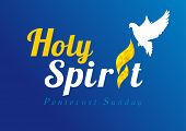 Invitation template in the service of Pentecost in the form of inscriptions Holy Spirit with a white dove over the tongue of flame poster