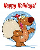 Happy Holidays Greeting Over A Santa Bear poster