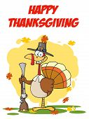 Royalty-Free (RF) Clipart Illustration of Happy Thanksgiving Over A Turkey Vird With A Musket poster