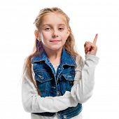 little girl with her finger pointing upwards isolated on white background poster