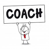 Coaching expert. Stick figure man holds Coach sign poster