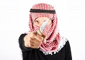 Islamic fundamentalist terrorist with knife on white background poster