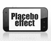 Health concept: Smartphone with black text Placebo Effect on display poster