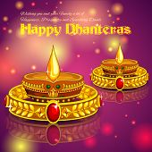 illustration of Happy Diwali jewellery promotion background with diya poster