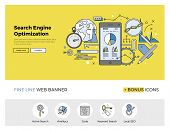 Flat line design of web banner template with outline icons of search engine optimization service SEO data analytics and keyword process. Modern vector illustration concept for website or infographics. poster