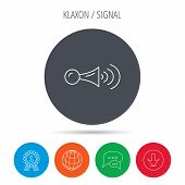 Klaxon signal icon. Car horn sign. Globe, download and speech bubble buttons. Winner award symbol. Vector poster