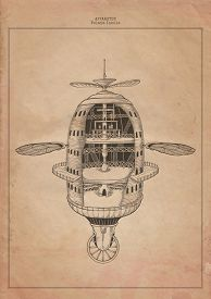 Flying Building. Apparatus. Drawing an old paper