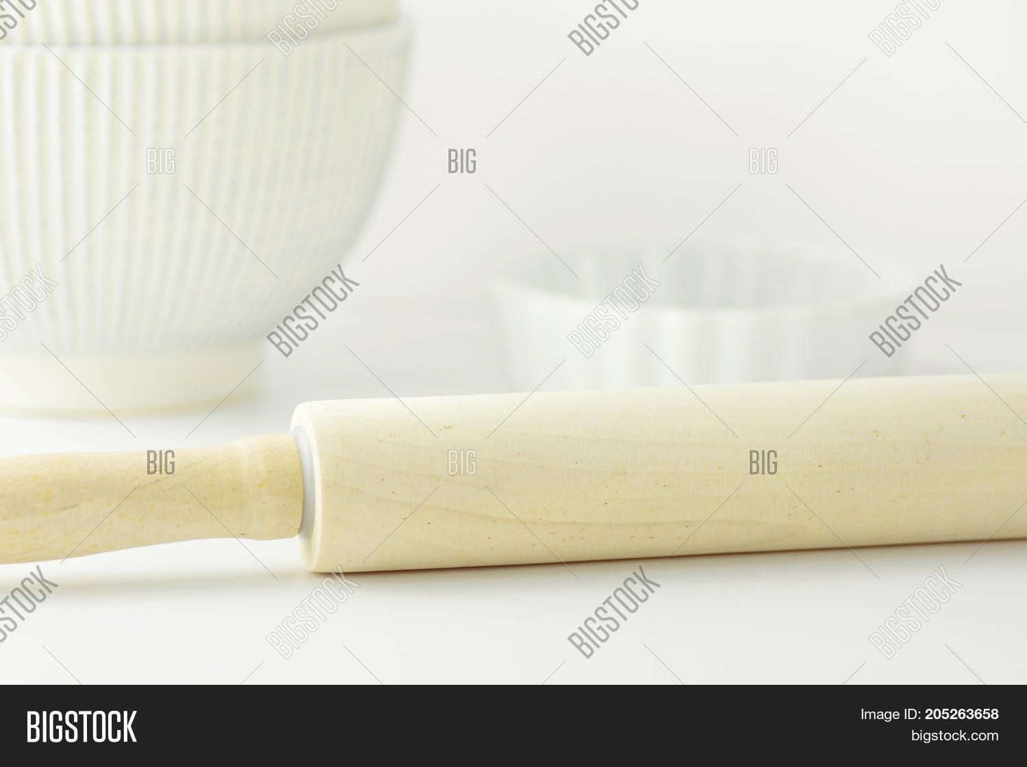 Wooden Rolling Pin Image Photo Free Trial Bigstock