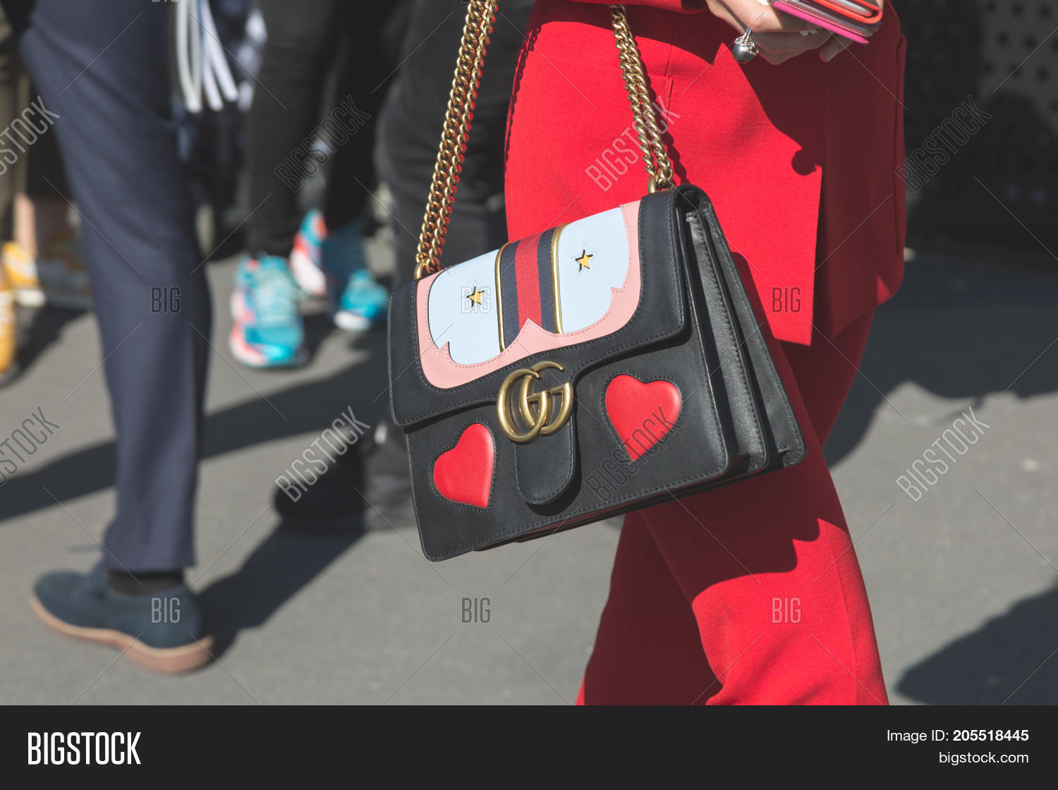 8711a367 MILAN ITALY - SEPTEMBER 20: Detail of bag outside Gucci fashion show  building during Milan