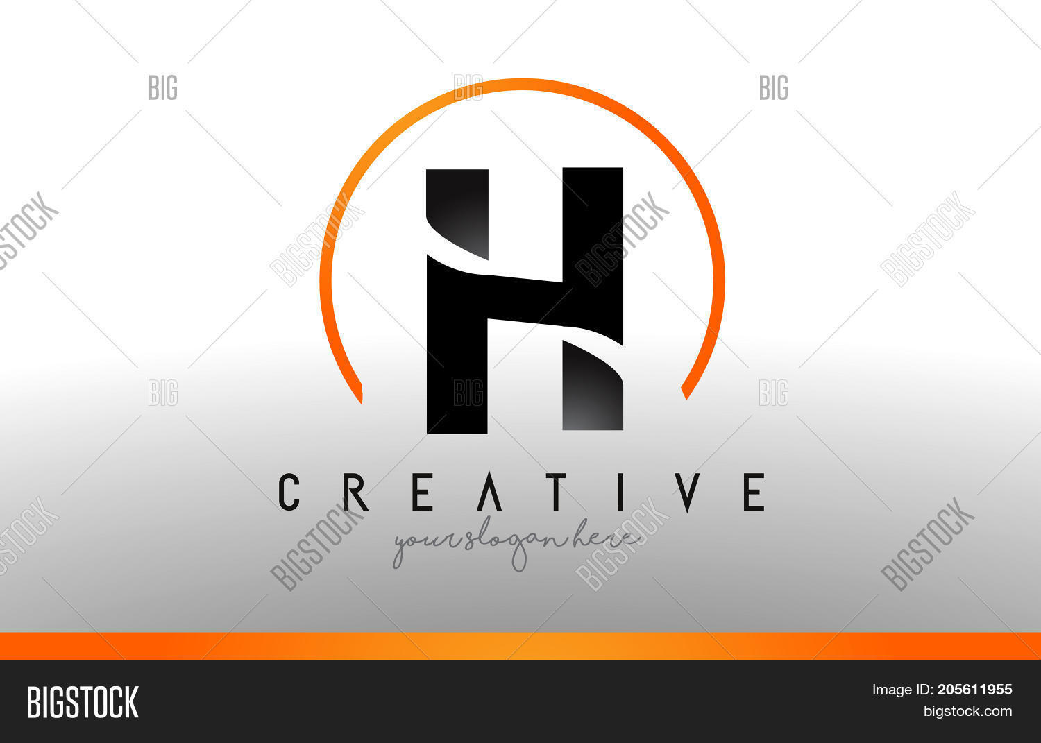 H Letter Logo Design With Black Orange Color Cool Modern Icon Template