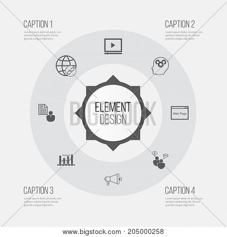 SEO Icons Set. Collection Of Video Player, Report, Intellectual Process And Other Elements