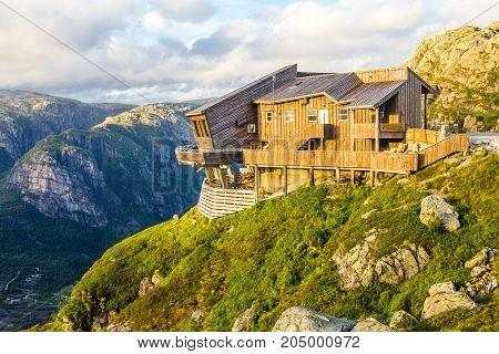 Beautiful View On Kjerag Panoramic Restaurant, Lysefjorden Fjord. Forsand, Rogaland, Norway
