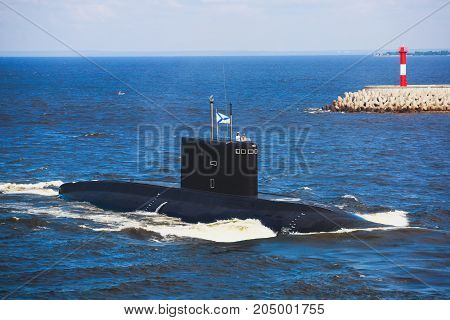 A Line Of Modern Russian Military Submarine Cruisers In The Row, Northern Fleet And Baltic Sea Fleet