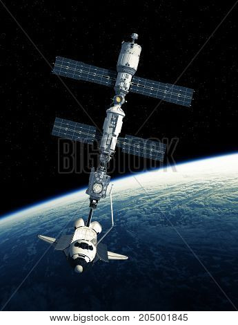 Space Shuttle And International Space Station On Background Of Planet Earth. 3D Illustration.